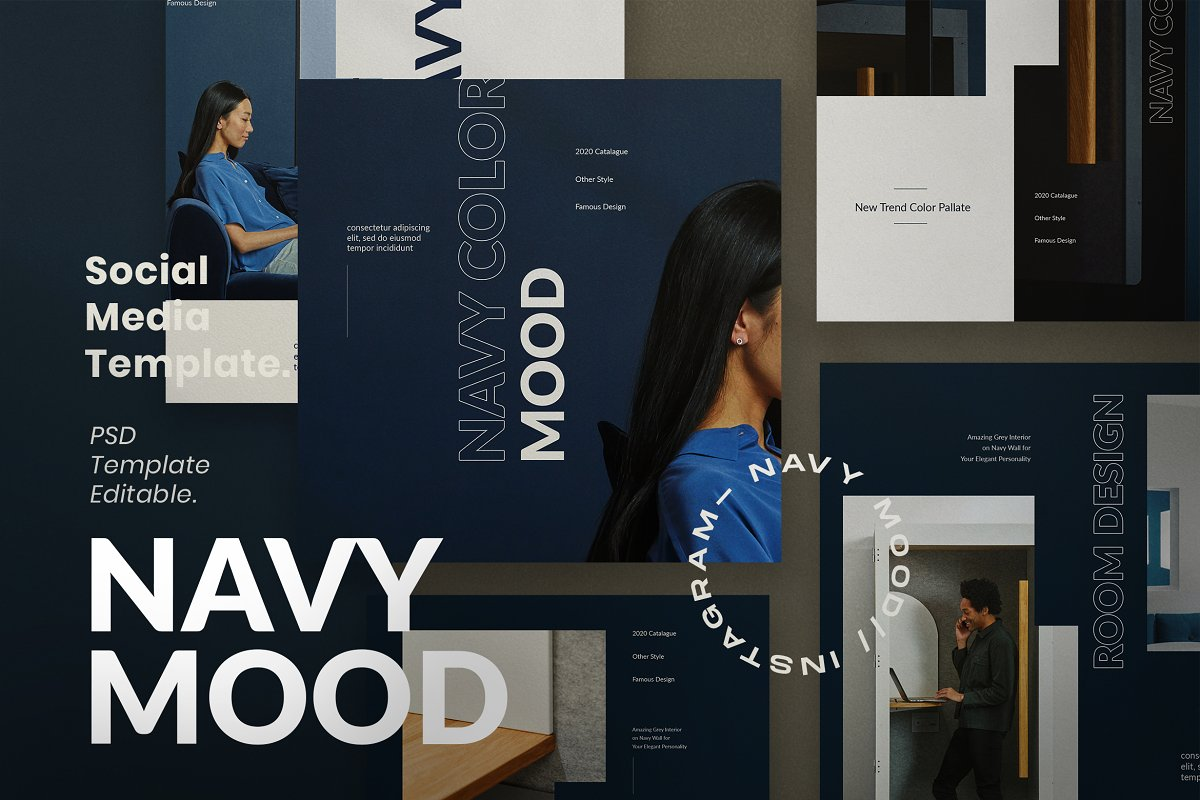 Navy Mood - Social Media Template in Instagram Templates