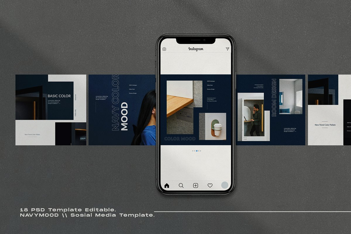 Navy Mood - Social Media Template in Instagram Templates - product preview 3
