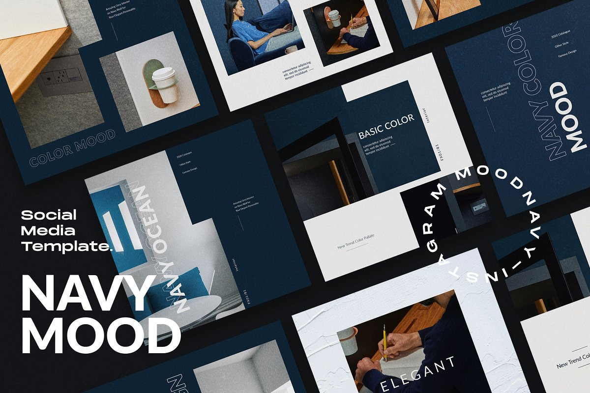 Navy Mood - Social Media Template in Instagram Templates - product preview 4