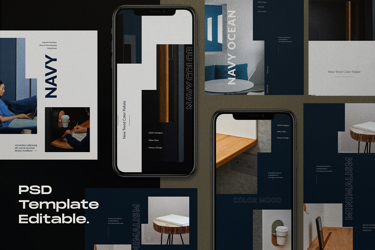 Navy Mood - Social Media Template in Instagram Templates - product preview 1