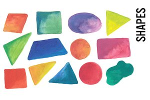 Shapes - Colorful Watercolor Clipart