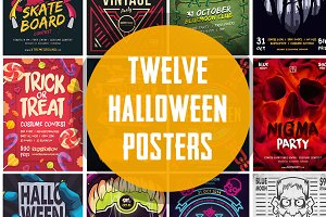 12 Halloween Posters Bundle (-$60)