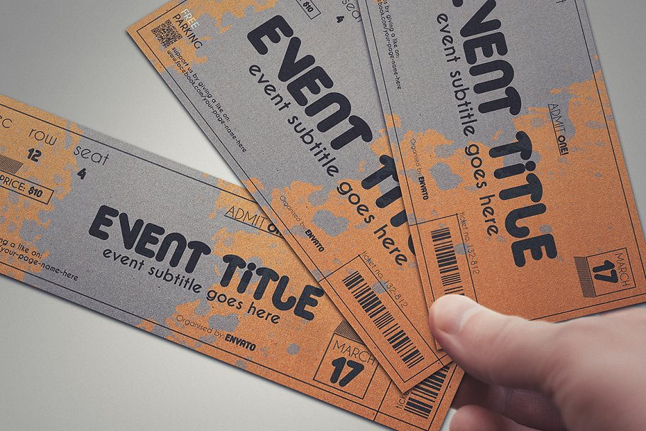 2 cardboard TICKET templates in Card Templates - product preview 8