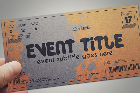 2 cardboard TICKET templates in Card Templates - product preview 2