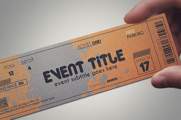 2 cardboard TICKET templates in Card Templates - product preview 3