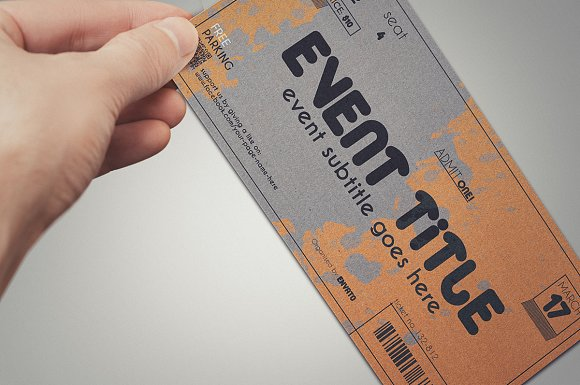 2 cardboard TICKET templates in Card Templates - product preview 4