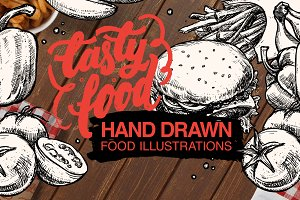 """Tasty food"" hand drawn illustration"