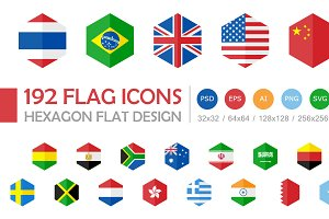 192 Flag Icons Hexagon Flat Design