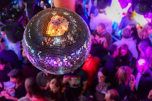 Disco ball at nightclub