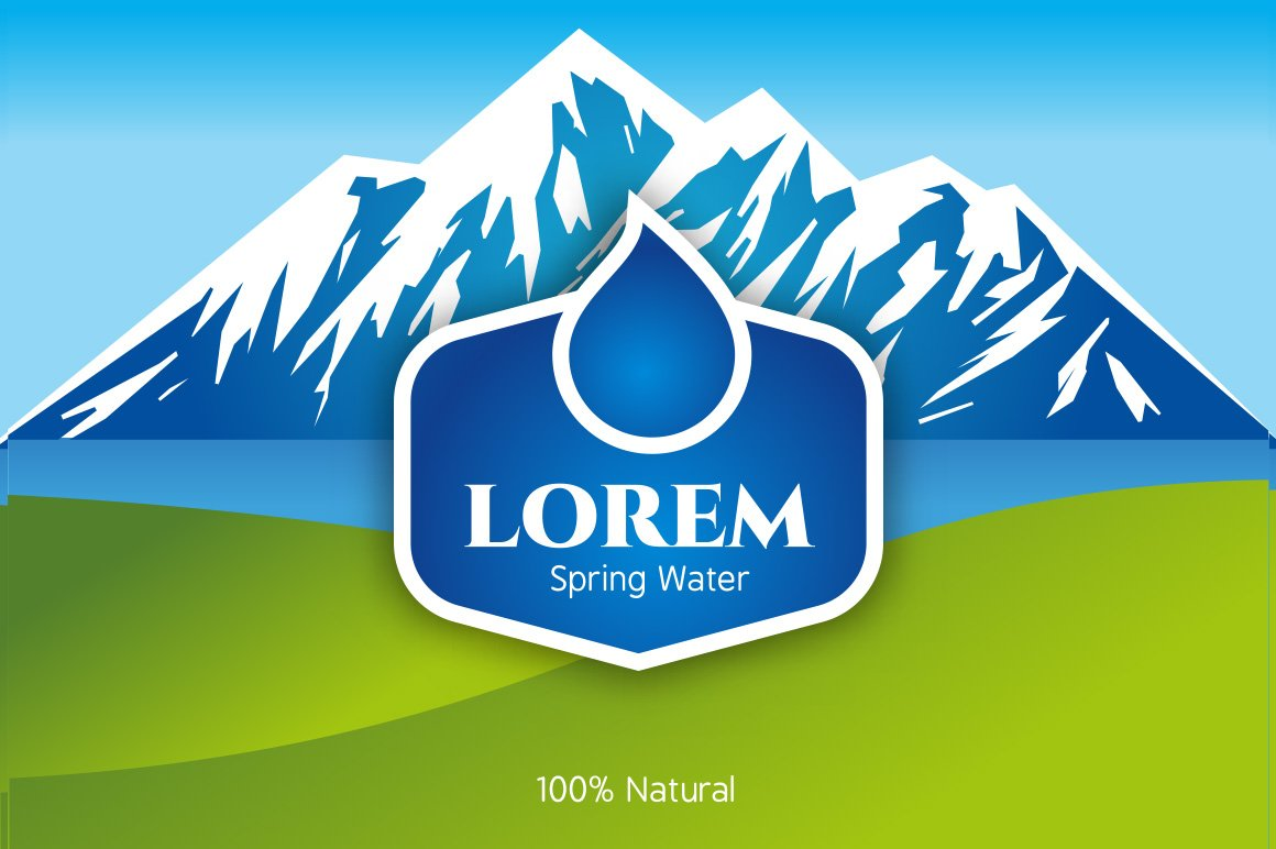 mineral water label template - vector bottled spring water logo logo templates