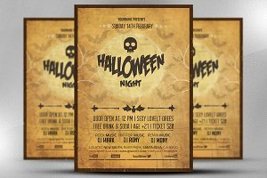 Vintage Halloween Night Party Flyer