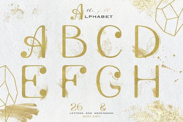 Gold & crystals alphabet set