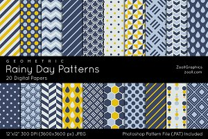 Rainy Day Geometric Digital Papers
