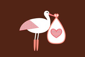 Stork Brings a Newborn Baby