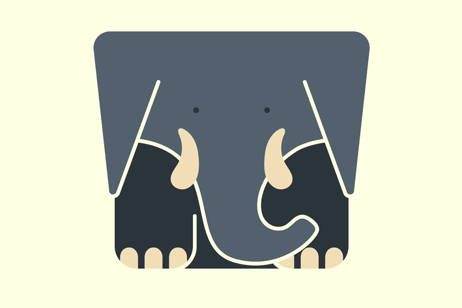 2ff4d4ef37c50 Flat square icon of a cute elephant ~ Icons ~ Creative Market