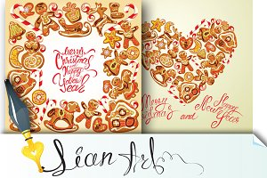 2 Holiday cards with gingerbread