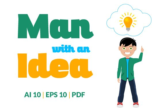 Man With Idea in Illustrations