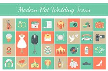 Flat Square Vector Wedding Icons