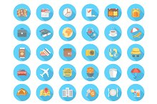 Round Flat Travel and Tourism Icons