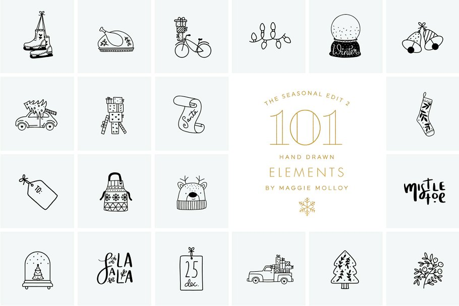 101 Festive Hand Drawn Elements EPS