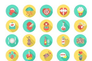 Love and Dating Flat Vector Icons