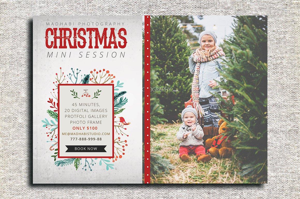Christmas Mini Session Template Flyer Templates Creative Market