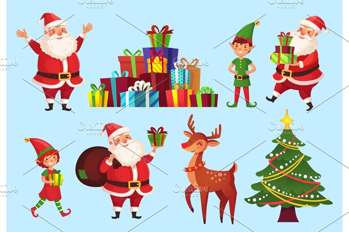 Cartoon christmas characters. Xmas