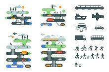 City traffic infographics set.
