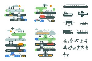 City traffic infographics set.