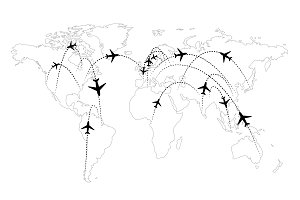 Airline routes on map