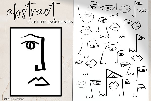 Abstract shape  Oneline art clipart