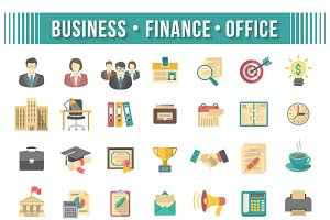 Flat Business and Financial Icons