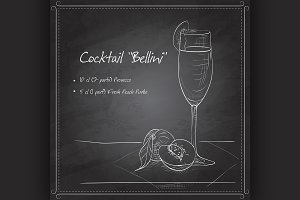 Cocktail belini on black board