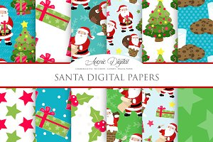 Christmas Santa Digital Paper