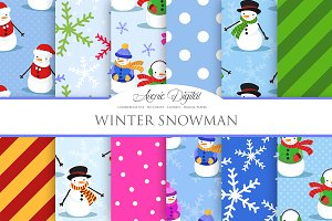 Winter Snowman Digital Paper