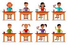 Vector illustration of school kids