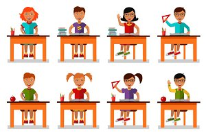 Vector illustration of school kids