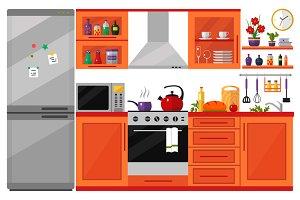 Kitchen Interior with utensils