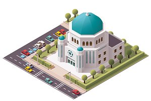 Vector isometric synagogue