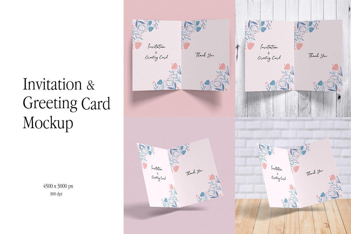 Invitation Greeting Card Mockup Print Mockups Creative
