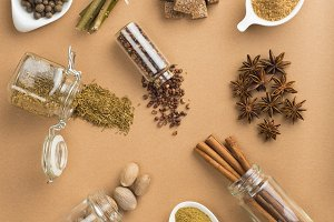 Spices in brown