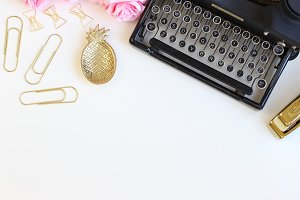 Typewriter Gold Desktop Styled Stock