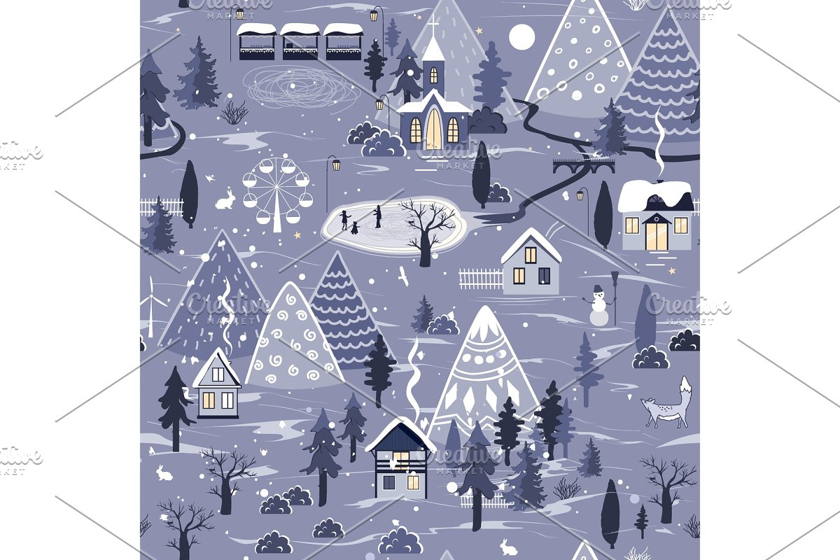 Winter seamless pattern with night
