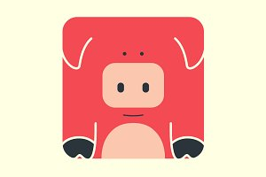 Flat square icon of a cute pig