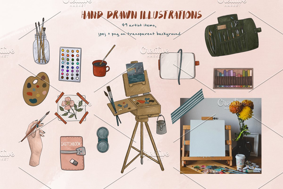 Artist collection. Art supplies in Illustrations - product preview 1