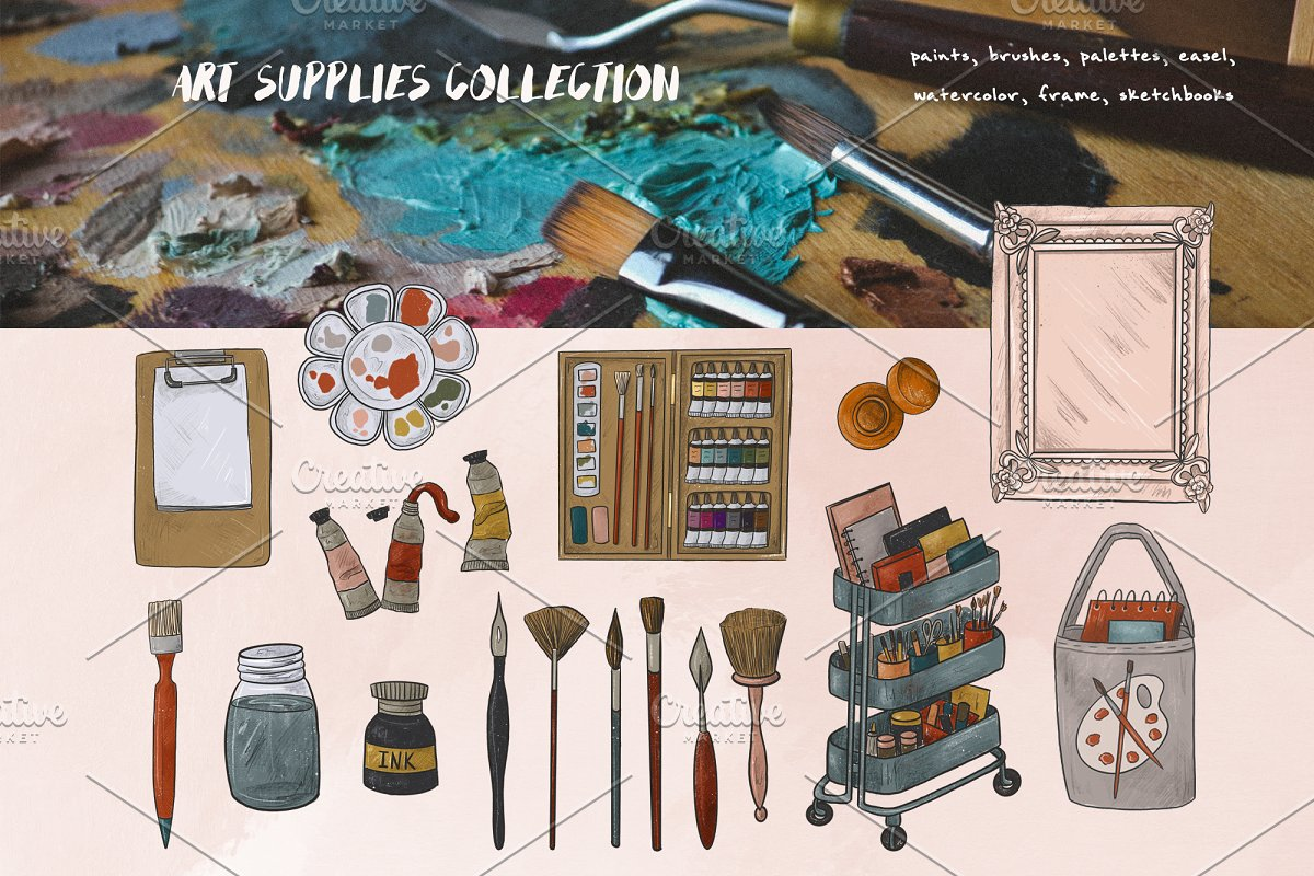 Artist collection. Art supplies in Illustrations - product preview 2
