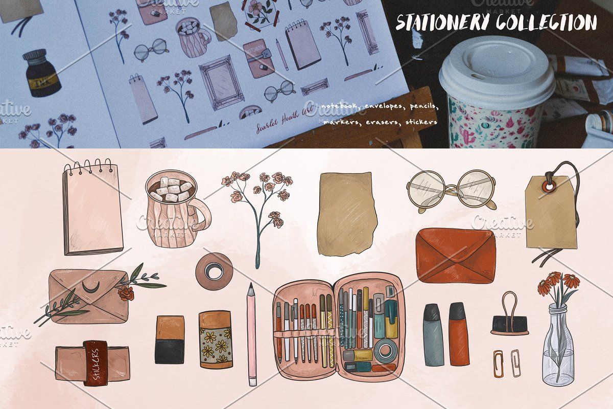Artist collection. Art supplies in Illustrations - product preview 3