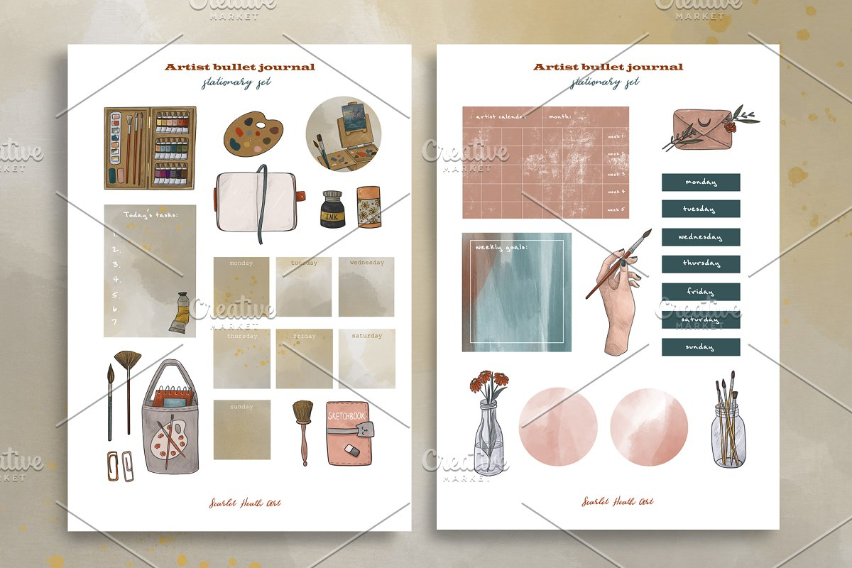 Artist collection. Art supplies in Illustrations - product preview 5