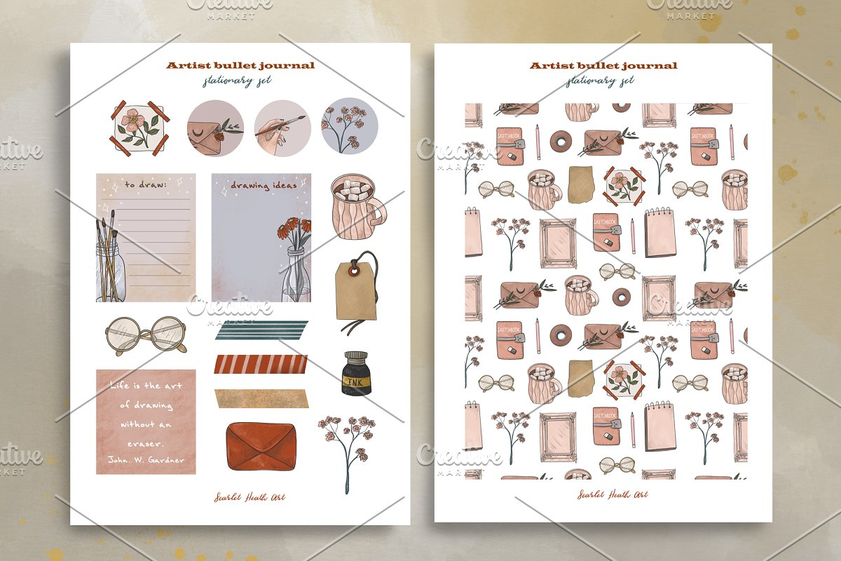 Artist collection. Art supplies in Illustrations - product preview 6