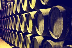 Barrels of wine or whiskey